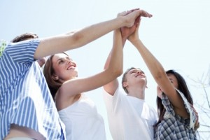 Hands Of Young Men And Women Stock Photo
